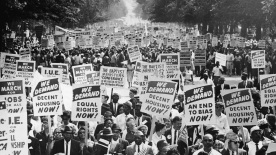 Demonstrators march down Constitution Avenue during the March on Washington on Aug. 28, 1963.